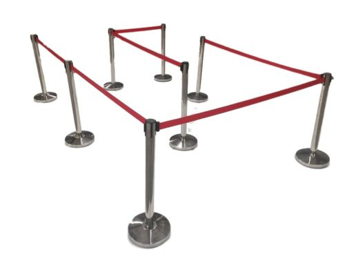 (8) Pack of Retractable Crowd Control Barrier Posts / Stanchions 6