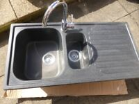 Black 1.5 bowl resin kitchen sink with right hand drainer plus tap if required
