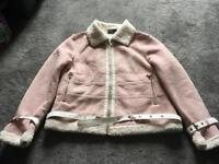 NG ladies faux leather pink winter short jacket size S/8-10 used one time Ex condition £10