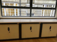 office storage tambour unit Flexiform white and dark with shelve