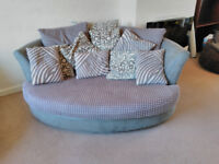 L-Shaped corner sofa, cuddle couch and footstool