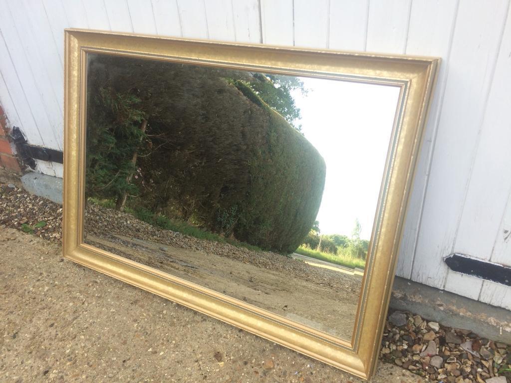 Large bevelled edge Gold framed over mantle mirror