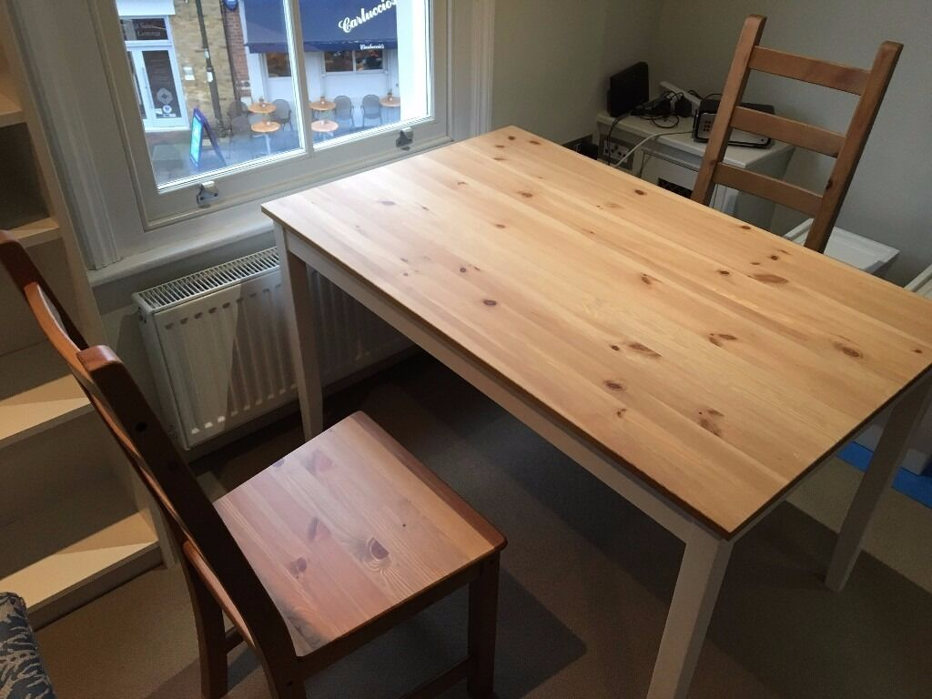 Dining set (table2 chairsin Wimbledon, LondonGumtree - I am selling a dining set of 2 chairs and a table. Very spacious for two people, but we have comfortable sat 4 at it as well when we had guests. We are now moving to a furnished flat and no longer need the items. I am happy to send more photos if...
