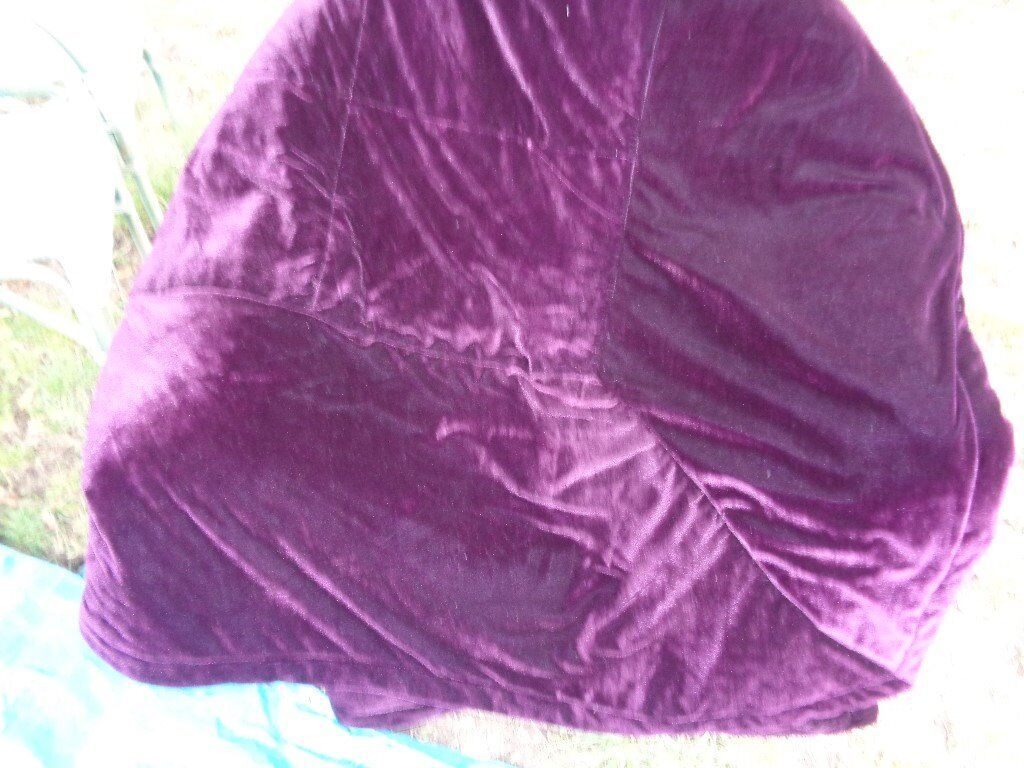 purple velvet look bedspread