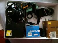 Nikon D3000 kit with additional prime and zoom lenses all as new