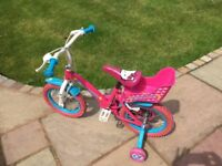 "Hello kitty 14"" child's bike . Excellent condition."