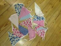 2 x rows of pink / blue bunting 9ft each