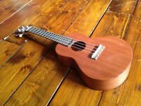 Uluru II: Solid Mahogany Handmade Ukulele with clip on tuner and case