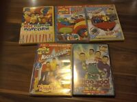 Collection of 5 Wiggles DVDs.