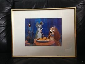 LADY AND THE TRAMP 1955 FRAMED PICTURE SIZE 42 CM WIDE X 31 CM