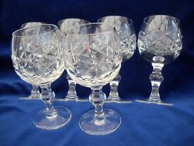 6 CUT GLASS HEAVY BRANDY/WINE GOBLETS