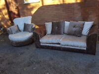 Amazing 1 month old brown and mink crushed velvet sofa suite.3 seat sofa and swivel chair.delivery