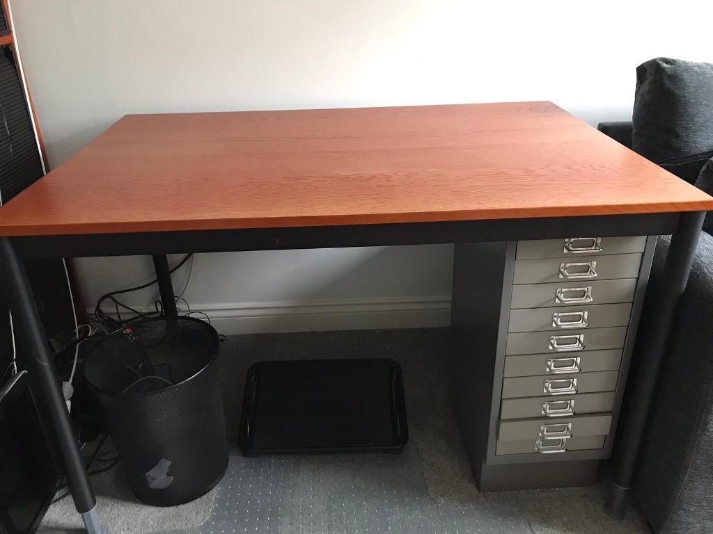 IKEA cherry wood desk with adjustable legs
