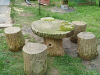 Concrete garden table and stools