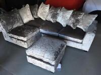 Beautiful silver crushed velvet corner sofa brand new rrp£1000