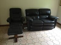 2 SEATERBROWN RECLINING SOFA & BROWN LEATHER CHAIR AND FOOTSTOOL
