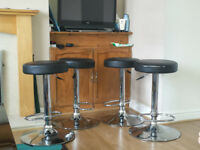 4 x Bar stools set faux leather kitchen breakfast stool
