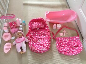 Baby cupcake doll, bath set, feeding accessories, carrycot and bag