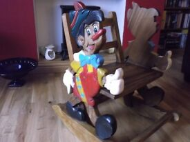 Vintage Disney Pinnochio Solid Wood Rocking Chair
