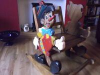 Vintage Disney Pinnochio Solid Wood Rocking Chair