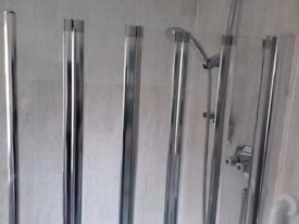 Bath white with taps and shower screen