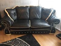 Italian leather sofa and arm chair