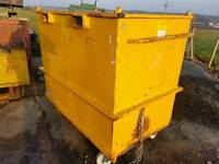 Forklift tipping skip bin with opening floor for factory farm stables tractor telehandler