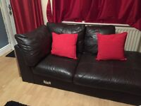 Brown leather corner sofa, free to collect