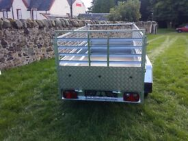 New trailer 8.7 x 4.2 twin axle-build, side with mesh and ramp £ 1150 inc vat