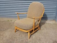 VINTAGE BEECH ELM FRAMED ERCOL 203 BLONDE WINDSOR LOW ARMCHAIR MCM RETRO HOME GC