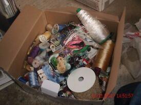 large box of silks & sewing thread ,bobbins and reels
