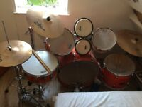 Full Pearl Export drum kit and accompanying Zildjian cymbal set. Sound dampeners, other extras inc.