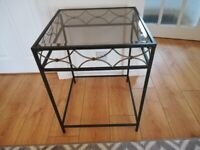 Glass and metal hall/occasional table
