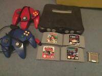 N64 with 4x games and 2x controllers