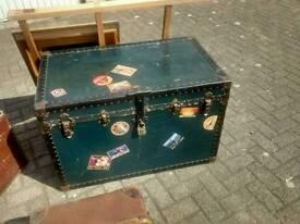 Genuine vintage ships chest travel trunk