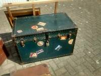 Genuine vintage ships chest travel trunk