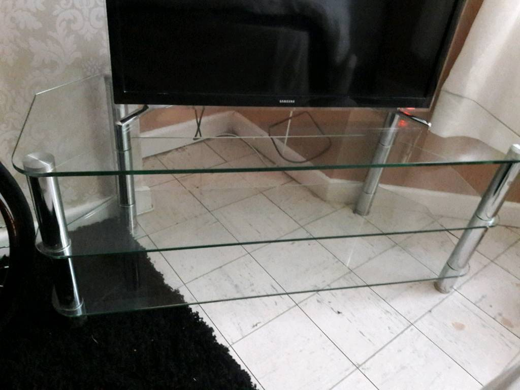 "Clear glass tv unit 45""long"