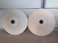 2 Beautiful cream ceiling light shades with dark antique gold centers