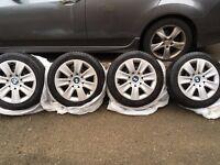 Winter Tyres & Steel Rims fit BMW Series 1, 4 set Bridgestone Blizzard tyres with 5mm tread