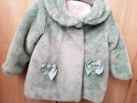 Mint green faux fur coat size 12 months