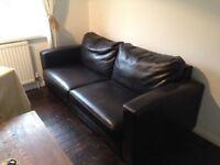 Leather queen sleeper sofa