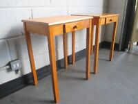 PAIR OF BEECH ONE DRAWER SIDE TABLES FREE DELIVERY