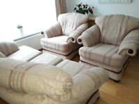 3 Seater Sofa + 2 Armchairs Fabric Suite