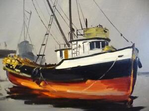 Listed Artist, Original Oil, Fishing Boat by Egbert Oudendag, Stratford Kitchener Area image 3