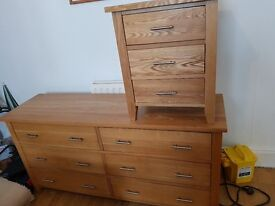 Chest of drawers and 2 bed side cabinets