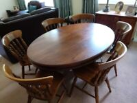 Oval Wood Dining Table and 6 Chairs for Sale