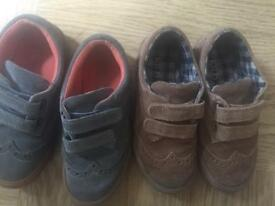Boys M&S shoes one grey one tan kids size 10