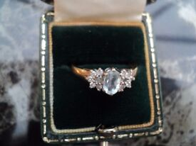 Reduced 9ct gold hallmaked uk diamond & aquamarine ring beautiful size approx is an N