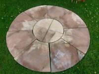 New Sandstone Coloured Circular Patio Slabs