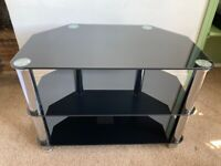 Black and Silver Glass TV Table